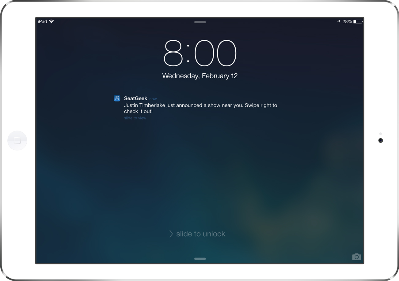Push notification screenshot